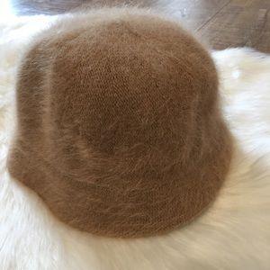DNY Angora Narrow Brim Chic Bucket Hat Camel